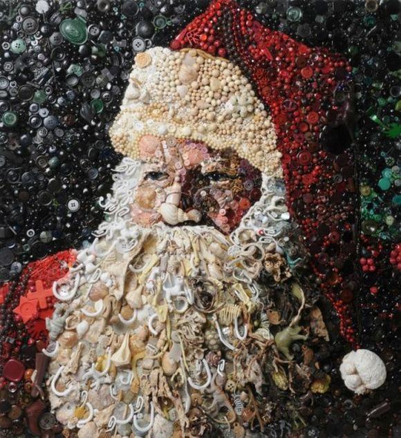 Santa Claus trash art