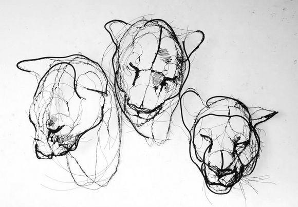 animal wire sculptures by David Oliveira