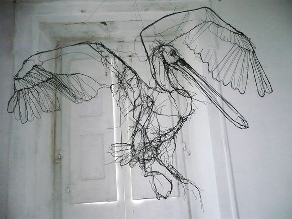animal wire sculpture drawings from a distance