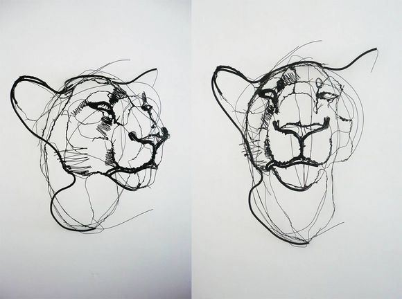 drawings from a distance animal wire sculpture