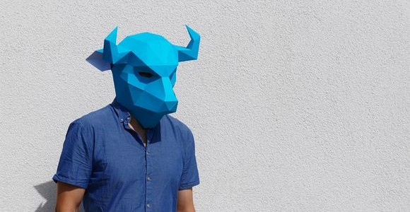 Geometric paper masks by Steve Wintercroft
