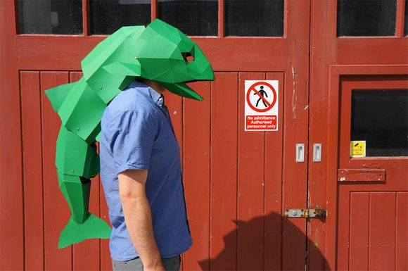 bizarre geometrical paper masks for Halloween