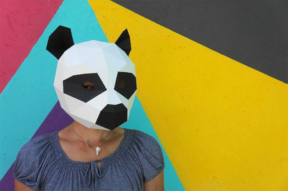 panda 3D geometric mask for Halloween