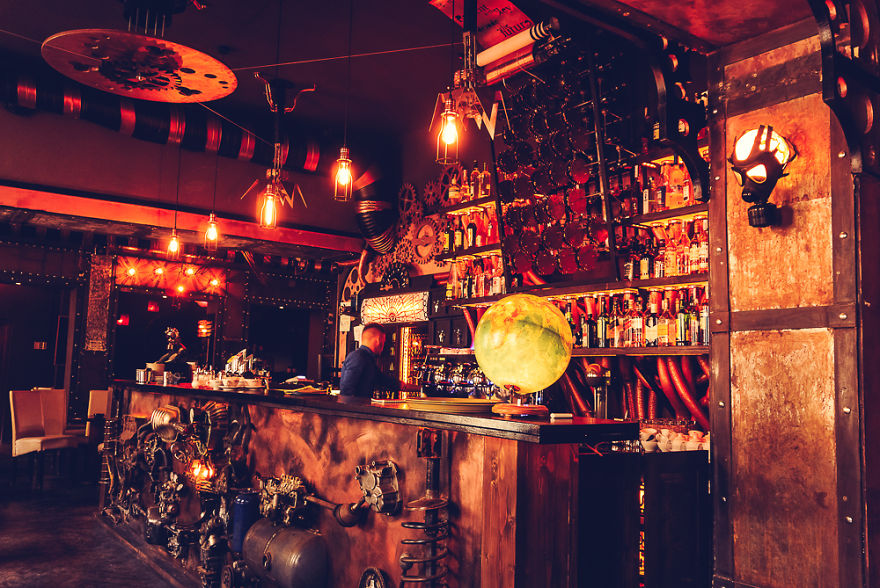 A Steampunk Themed Cafe In Romania