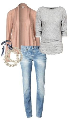 Casual Outfit with Pink Top Blue