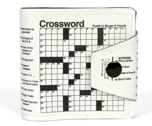 wallet imprinted with crossword puzzle