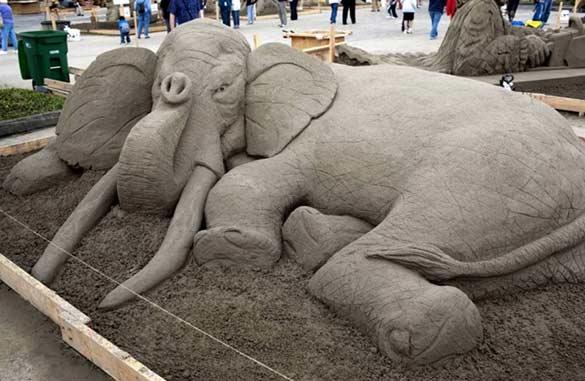 elephant made of sand