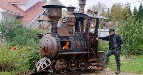 Giant steampunk locomotive