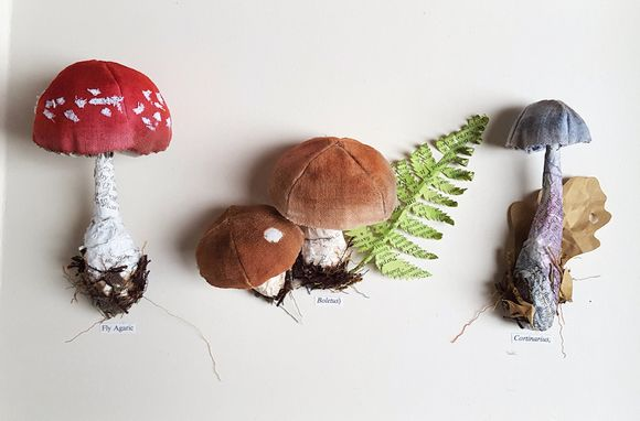 floral and fungi Sculptures produced from recycled paper by Kate Kato