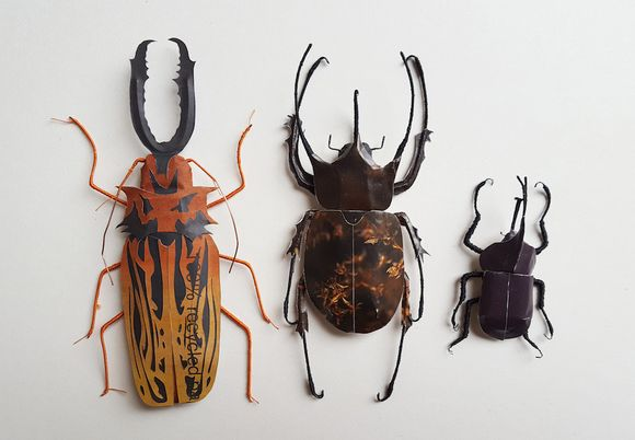 Sculptures produced from recycled paper by Kate Kato