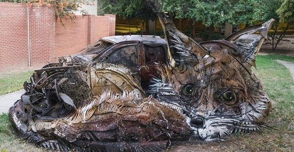 Animalistic trash sculptures by Bordalo II
