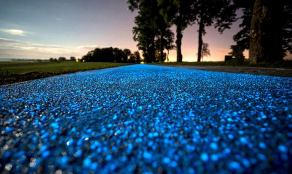 A glow-in-the-dark bicycle path