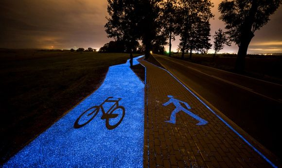 Gorgeous glowing cycle path in Poland