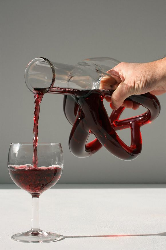 Hand-blown glass wine decanters by Etienne Meneau
