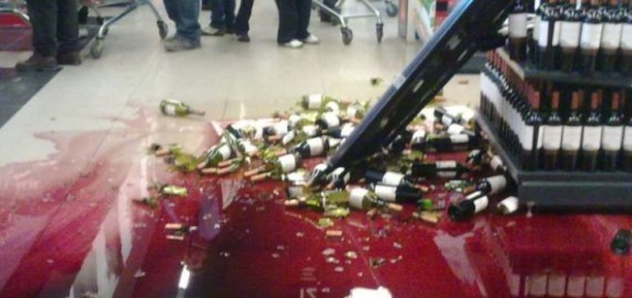 wine in store hit the floor lots of mess