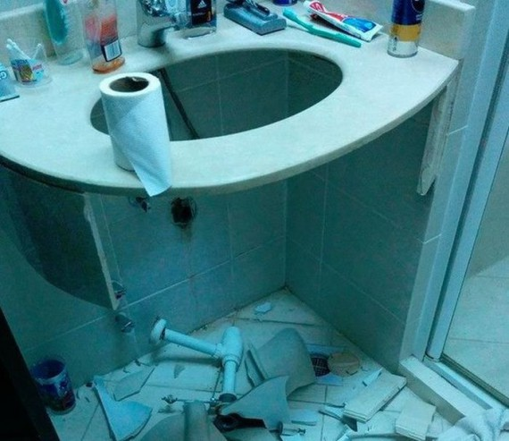 broken toilet sink