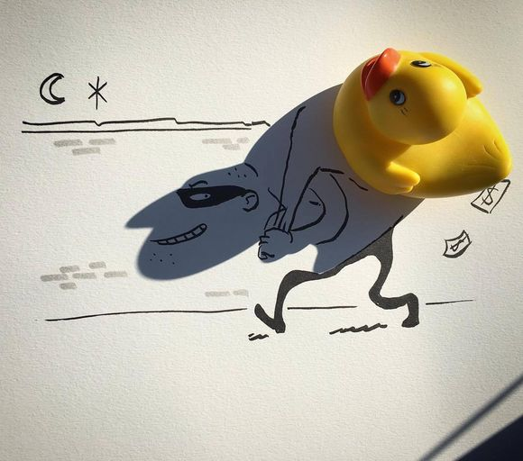 Shadows Of Everyday Objects Into Funny Illustrations